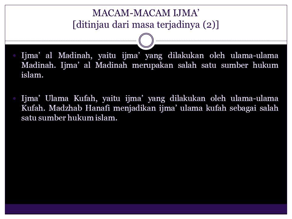 MACAM-MACAM IJMA' [ditinjau dari masa terjadinya (2)]